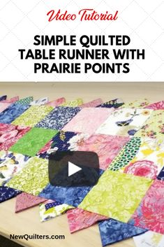 If you've ever wanted to learn how to make Prairie Points, here is a fun quilt project--a table runner with Prairie Points all around. Quilting For Beginners, Quilting Tips, Quilting Projects, Sewing Projects, Easy Projects, Modern Quilting, Quilting Fabric, Sewing Crafts, Craft Projects