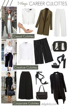 Career culottes: 3 ways to wear culottes to work #streetstyle