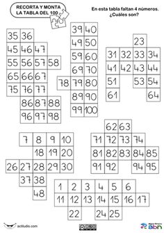Para trabajar la tabla del 100 en casa   Algunos ejemplos de tablas para que os descarguéis las que más os guste.              Para complet...
