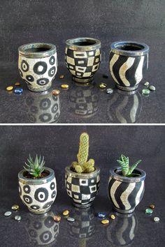 raku black and white pot, planter pot, pen holder desk, ceramic succulent pot, ceramic organizer, little planter pot, flower pot