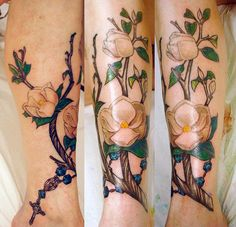 love love love this tattoo of the magnolias & rosary..the color is so beautiful
