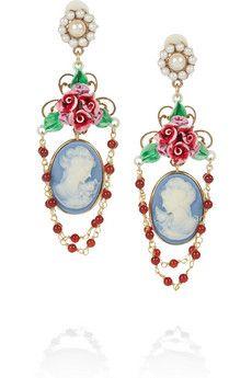 Dolce   Gabbana - Gold-tone faux pearl cameo clip earrings 783793c81d7
