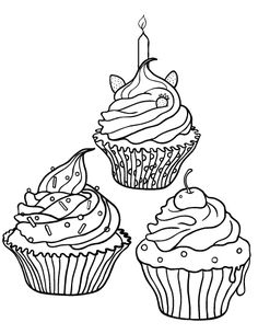 Printable cupcake coloring page. Free PDF download at http://coloringcafe.com/coloring-pages/cupcake/.