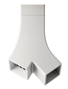 Elica 'Yin' shapely island hood made of white Cristalplant #statement #kitchens