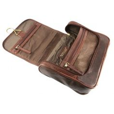 e86d510f5d06 Rowallan Verona Luxury Leather Hang Up Wash   Toiletry Bag - Cognac
