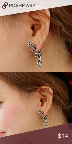 Steampunk Revolver Earrings Unique earrings. One earring is the revolver, other earring is the bullet Jewelry Earrings