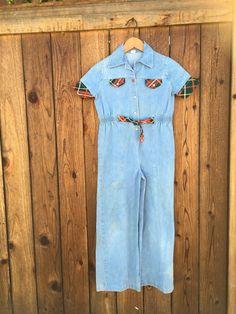 Kids Vintage 70s Denim Bell Bottom Jumpsuit Denim One Piece Hippie Boho Jumpsuit    eBay