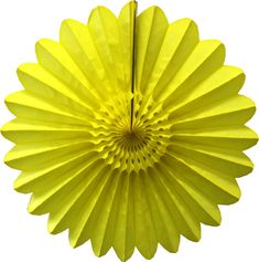 Bright yellow 18 inch tissue paper fan in a flower fanburst design. Made in USA by Devra Party. Yellow Party Decorations, Tissue Paper Decorations, Balloon Decorations, Tissue Pom Poms, Paper Balls, Party Garland, Kids Party Themes, Backdrops For Parties, Flower Designs