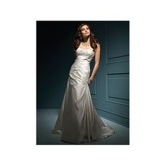 Satin Strapless Neckine with Beaded Empire Bodice and Sexy Skirt with Asymmetrical Pleats in Chapel Train New Custom Made Wedding Dress WA-0072 - Wedding Gowns & Dresses - Wedding Dresses Online Shop [#10823] - $168.61