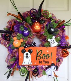 Halloween Deco Mesh Wreath  with Mickey by SparkleForYourCastle, $159.00
