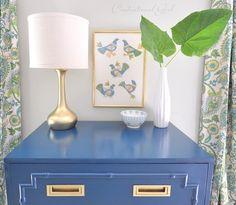 Faux bamboo chest painted bright blue.  #ThirftStoreFindAccentTableNightstandRefinishedRepainted
