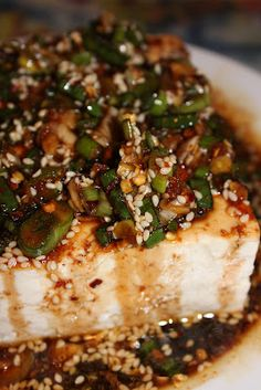 This is Warm tofu with spicy ginger sauce...I think the sauce would be fabulous over grilled or pan seared fish
