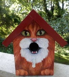 BIRD HOUSE  Wood Hand Painted  Custom Made   for by GiftsbySuzanne