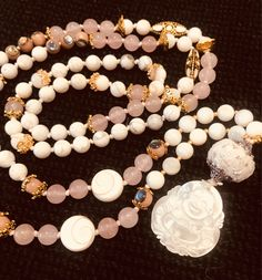 Excited to share the latest addition to my #etsy shop: Shell Rosewood Shiva Eye Rose Quartz Howlite Guru Bead Hand Knotted Aroma Tassel 108 beads 8mm Japa Mala Necklace #jewellery #necklace #pearlshell #rosequartz #pink #boho