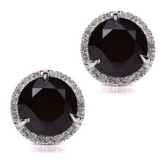 Pre-owned 14K White Gold 6.39tcw. Black and White Diamond Earrings (€1.850) ❤ liked on Polyvore featuring jewelry, earrings, black and white diamond earrings, 14 karat white gold earrings, diamond jewelry, black and white diamond jewelry and white and black diamond earrings