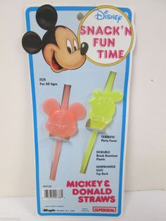 DISNEY MICKEY MOUSE DONALD DUCK VINTAGE PLASTIC FIGURAL DRINKING STRAWS