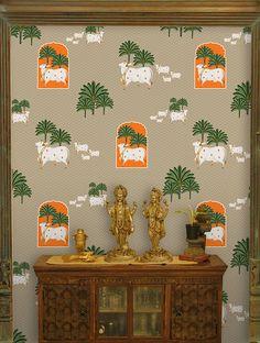 Pooja Room Door Design, Home Room Design, Wall Design, Ethnic Home Decor, Indian Home Decor, Wallpaper Online, Room Wallpaper, Traditional Paintings, Traditional Decor
