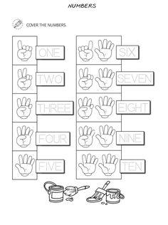 Numbers For Kids, Numbers Preschool, Kindergarten Worksheets, Worksheets For Kids, Kids English, English Lessons, Learn English, Preschool Body Theme, Number Words Worksheets