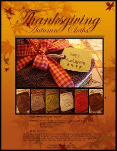 Ravelry: Thanksgiving Autumn Cloths pattern by Kris Knits Dishcloth Knitting Patterns, Crochet Dishcloths, Loom Knitting, Knit Patterns, Clothing Patterns, Knit Crochet, Thanksgiving Diy, Crochet Kitchen, Pattern Library