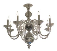 Contemporary eight arm clear glass chandelier. Other configurations available.