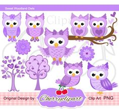 Purple Sweet Owls Digital Clipart Set forPersonal by Cherryclipart, $3.50
