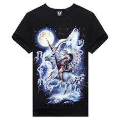 2014 New Arrival Hot Summer Fashion Indians And Horses 3D Digital Print Men T-Shirts 5 Sizes:S M L XL XXL Free Shipping TS009