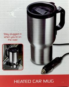 5 minute Fix-It Heated Silver Black Lid Car Coffee Mug 13oz  New in package Heated Travel Coffee Mug/Cup 13oz 12V Auto Adapter long Cord -13-ounce  capacity -Stainless steel exterior -Double-walled design for insulation -Plugs into  12V DC car outlet -Non-slip base -Safety lid -Not suitable for dishwasher -Power Cord 4 ft New purchased for resale by Keywebco Video inspected during shipping Shipped fast and free from the USA The item for sale is pictured and described on this page. The stock…