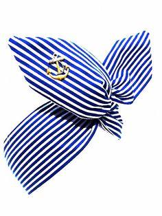 Rockabilly Pin Up Haarband Streifen Royal Blau von magmaAccessoires, €7.50