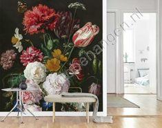 Vlies fotobehang Still Life with Flowers in a Glass Vase - Jan Davidsz