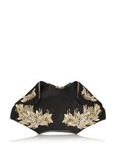 ALEXANDER MCQUEEN De Manta Medium Embellished Silk-Satin Clutch