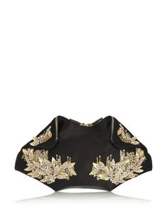 ALEXANDER MCQUEEN De Manta Medium Embellished Silk-Satin Clutch