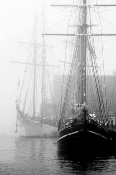 Beautiful, old black and white of Tall Ships