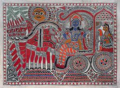 Krishna and Arjun @ Naina Creations Madhubani Art, Madhubani Painting, Indian Art Traditional, Kalamkari Painting, Mask Painting, Indian Folk Art, Krishna Painting, Indigenous Art, Indian Paintings
