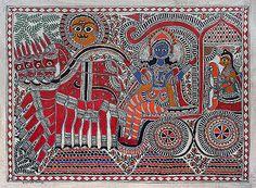 Krishna and Arjun @ Naina Creations   StoryLTD.com   #MadhubaniPaintings #IndianArt #Unique
