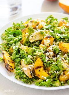 grilled peaches, avocado and chicken mixed with nutty quinoa and crunchy kale, sprinkled with feta for a savoury kick. Peach/ginger dressing poured over all.