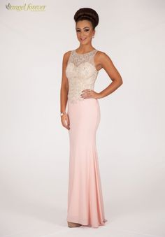 A gorgeous transperent back design with beaqutiful crystal top and flowy fish tail bottom. Fishtail, Bridesmaid Dresses, Angel, Formal Dresses, Tops, Design, Fashion, Bridesmade Dresses, Dresses For Formal