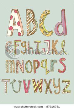 Stock Vector Illustration: doodle font