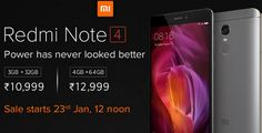 Buy Redmi Note 4 with 3GB Ram + 32 GB Memory at Rs. 10,999