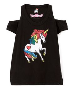 This Black Unicorn Cutout Top by So Nikki is perfect! #zulilyfinds