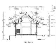 개심사 - 대웅전     용마루(ridge)   처마(eave)   공포(brackets) (결구)  평광(little beam)  기둥(column)  초석(stone base)  기단(platform)