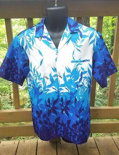 Royal Creations Blue White Aloha Shirt Tropical Print Size M | Etsy Pale Fire, Aloha Shirt, Vintage Avon, Black Letter, Vintage Shirts, Atlanta, Men Casual, Tropical, Blue And White