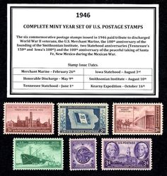 1946 Complete Year set of MNH- Vintage U.S. postage stamps, # 939 - 3¢ Merchant