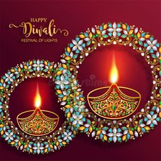 Illustration about Happy Diwali festival card with gold diya patterned and crystals on paper color Background. Illustration of creative, chaturthi, cultural - 126645219