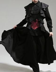 Fanplusfriend Whale Bones Bay Series Pirate Lolita Leather Dragon Wings Unisex Corset Vest Long Jacket