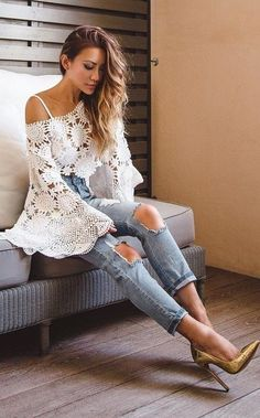 #summer #stylish #style #outfitideas | White Crochet Top + Jeans