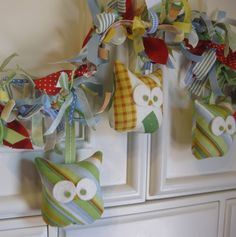 NEW Owl Garland designer fabrics by aprilfoss on Etsy https://www.etsy.com/listing/75912536/new-owl-garland-designer-fabrics