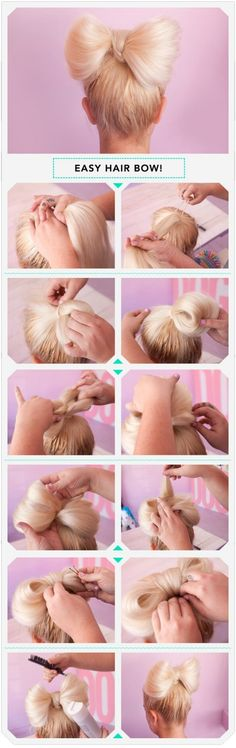 Easy hair bow!!! You will need:  Brush/Comb Hair pin (Big/Small)  Pony tail Hair spray And of course your hair!!!!  The picture show you how to do it step by step!!! You only need few things so it is really affordable!!! I hope you enjoy it!!! :))) <3