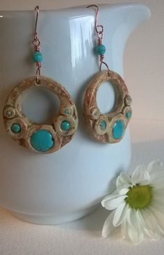 Turquoise and Copper Hoop Earrings . Turquoise by KJDesignByKaren