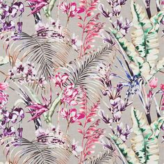 Amazilia Fabric Collection by Harlequin is a striking range of tropical fabrics bursting with character and flavour. As part of the latest Harlequin range, the Tropical Fabric, Tropical Birds, Tropical Flowers, Tropical Design, Floral Design, Harlequin Fabrics, Harlequin Wallpaper, Flamingo Wallpaper, White Wallpaper