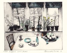 Easter Window by Pamela Grace hand coloured solar plate etching
